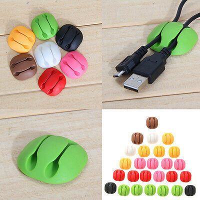 5× Smart Adhesive Wire Cords Cable Clips Ties Organizer Holder USB Line Fixer