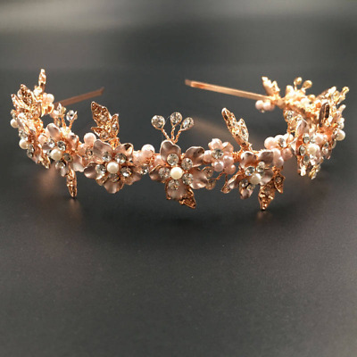 Bridal rose gold pearl and crystal hairband
