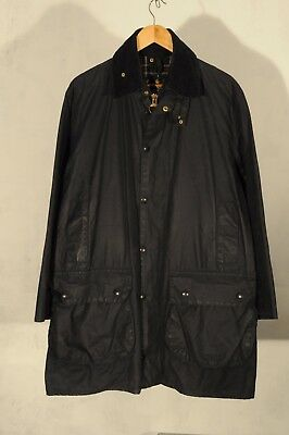 Vintage Barbour Border waxed jacket M c40 cm NAVY