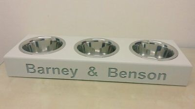 Handmade Wooden Personalised Lower Raised Dog Cat Bowl Stand Bowls Included