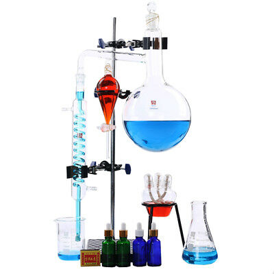 100ml-2000ml Lab Essential Oil Distillation Water Purifier Glassware Apparatus
