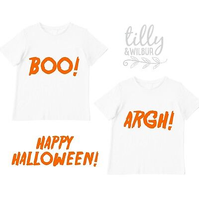 Halloween T-Shirt Set For Twins, Brother Sister Halloween T-Shirts, Matching