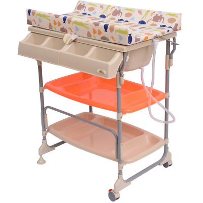 Homcom Baby Changing Table Unit Changing Station Storage Trays And Bath  With Tub