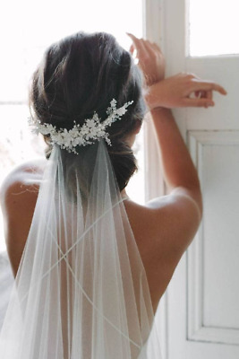 Bridal veil white 2m single tier with lace beaded comb