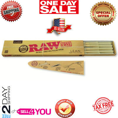 20 Pack Raw Lean Size Pure Hemp Prerolled Cones Weed Joint Smoking W/ Filter