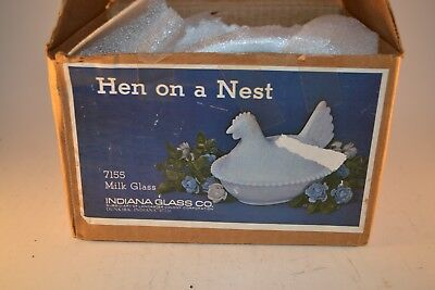Vintage Indiana Glass White Milk Glass Hen on a Nest In Original Box #7155