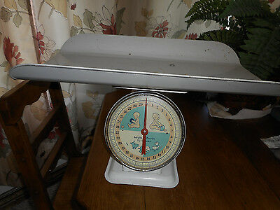 Vintage 30lb White Nursery Baby Scale Removable Tray White Photography 1960s