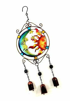 Bejeweled Display Moon and Sun Faces w/ Stained Glass Wind Chimes Bell