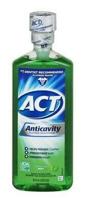 New Act Anticavity Fluoride Mouthwash Alcohol Free Mint - 18 Ounce (Pack of 6)