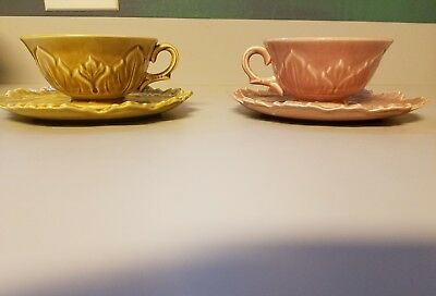 2 - Woodfield by Steubenville Leaf Plates and Matching Cups- salmon/Golden Fawn
