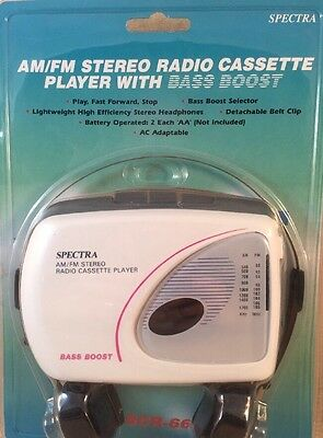 VTG Spectra Portable AM FM. Radio Cassette Player NIP Earphones SCR-66 NEW SEALD