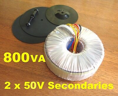 800VA Toroidal Transformer 230V Primary 2x50V Secondary Windings Thermal Fuse UL