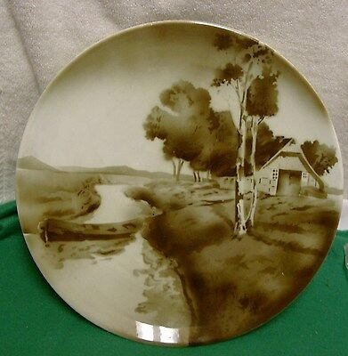 """Antique German MONOCROMATIC BROWN coupe plate Plate 11"""" Handpainted"""