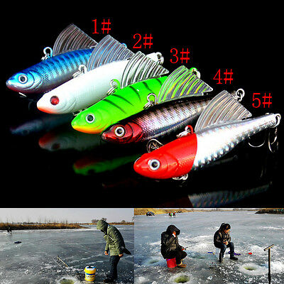 14g 65mm Winter Ice Sea Sinking Hard Fishing Lures VIB Bait Diving Swivel Jig NJ