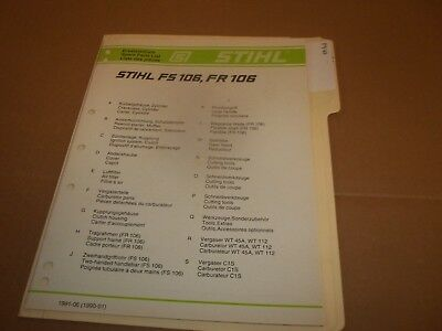STIHL PARTS LIST Fs106 Fr106 ---- Box874M - $5 95 | PicClick