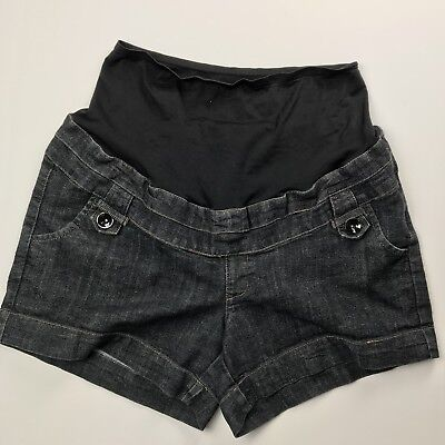 First Kick Maternity Denim Shorts Extra Large Jeans Full Belly Coverage Pockets