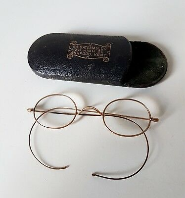 Vintage 1930'S 10K Gold Filled Round Spectacles In Case