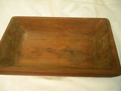 Vintage Large Hand Hewn Carved Black Walnut Wood Dough Bowl Farmhouse Country