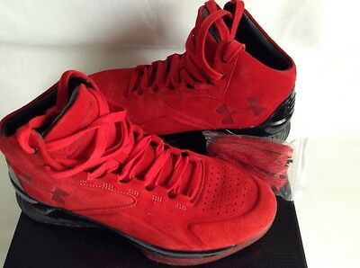 bbde3862268e0 Under Armour UA Curry Shoes 1 One I Lux Mid Suede Size 10.5 Red Black New