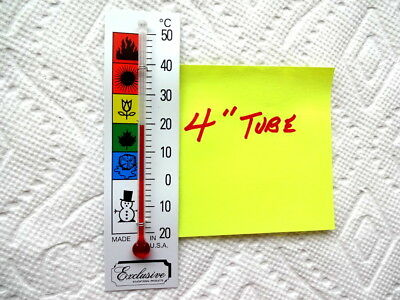4 inch Thermometer Tube on 1 3/8 inch x 3 5/8 inch on Celsius Backing Scale