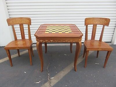 Italian Notturno Intarsio Sorrento Game Table Inlaid Wood w/ 2 Chairs Italy