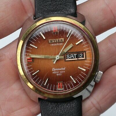 Vintage WYLER Sunburst Heavy Duty 660 Two Tone 36.5mm Men's Diver's Watch RUNS