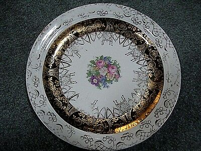"Vintage Royal China Warranted 22K Gold 13-1/4"" Dinner Serving Dish Plate"