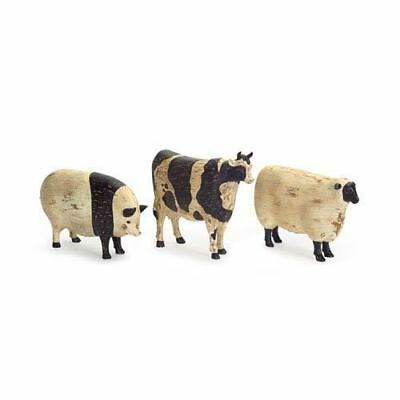 French Cottage Primitive Farmhouse Animals Pig Sheep Cow Statue Figurines S/3
