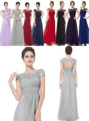 Long Maxi Evening Bridesmaid Formal Party Prom Dress Gown Size 6 -20