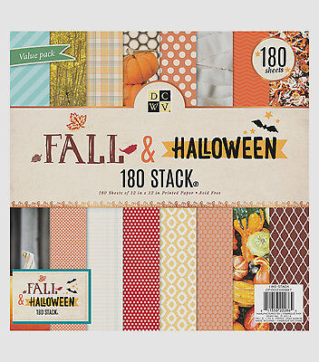 "12"" Scrapbook Paper 180pc Fall & Halloween STACK Die Cuts with a view pumpkin mu"
