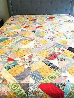 Vintage Hand Made Shabby Patchwork Quilt Cotton full queen old cutter quilt