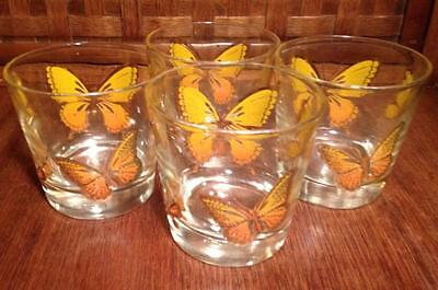 Libbey golden butterfly mid sized tumblers set of 4