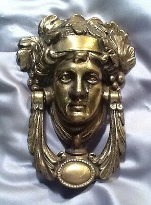 ANTIQUE Large SOLID BRASS VICTORIAN LADY Door Knocker