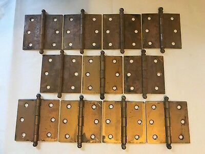 "11 Antique Shabby Chippy Steel Cupboard Cabinet Door Ball Top Tip Pin 3"" Hinges"