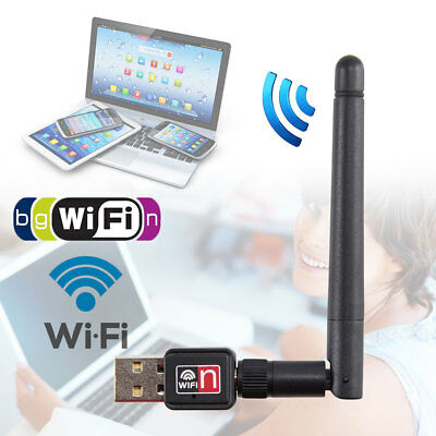 Mini USB 150M Wireless LAN Adapter 802.11n/g WiFi w/ Antenna 150Mbps Dongle