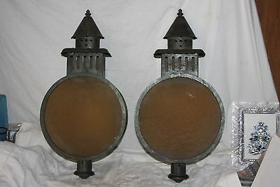 Antique Rare Round Gothic Amber Glass Kero Electric Wall Sconce Light Lamp