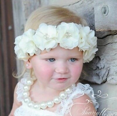 Baby Girl chiffon Flowers Newborn Hair Band headband Baptism Wedding Christening