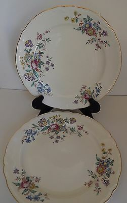 2 Edwin Knowles Dinner Plates 10 inch Winslow Multi Color Floral Pattern