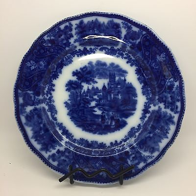 Burgess & Leigh England Pottery Flow Blue White Pattern Dinner Plate (RF548)