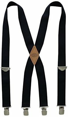 Dickies Men's 1-1/2 Solid Straight Clip Suspender Black One Size Fits up to 42