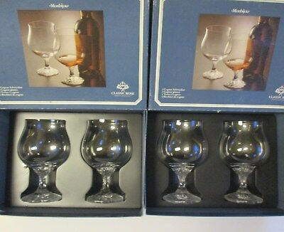 4X Rosenthal Monbijou Brandy Glasses  Classic Rose  Mint In Box