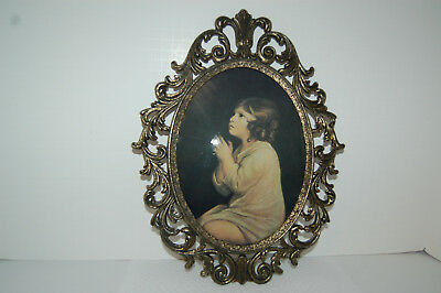 Vintage Print Young Girl Praying, Oval Frame Brass color hanger on back, Italy