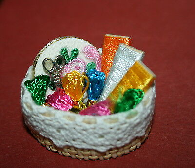 Dollhouse miniature filled sewing  thread Basket