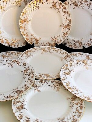 Set 11 Vintage Minton Bone China Ancestral Gold S-595 Service Dinner Plates