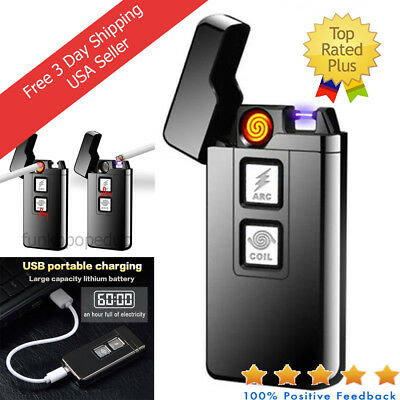 2 in 1 USB Electronic Flameless Lighter Plasma Arc & Coil Rechargeable Black