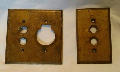 2 Antique Brass Push Button Light Switch & Switch/Plug Plate Cover.