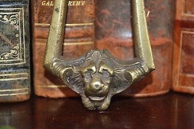 Antique French Brass Lion Head Drawer Pull Handle or Small Door Knocker