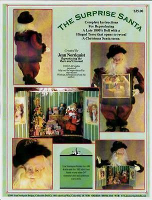 "JeanNordquist's SURPRISE SANTA TOYS IN TUMMY with Costume Pattern for a 24"" doll"