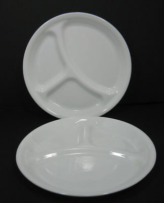 """Lot/2 Corelle Vitrelle Divided Grill Plates """"Winter Frost White"""" 10 1/4"""""""