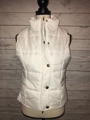 Honee Women's Size Small White Puffer Vest Zip Snap Button